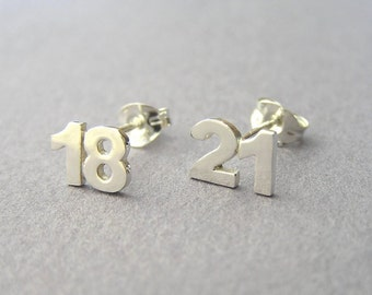 Custom Numbers Earrings - two Digits Sterling Silver Studs - Personalized Jewelry - Hand Cut
