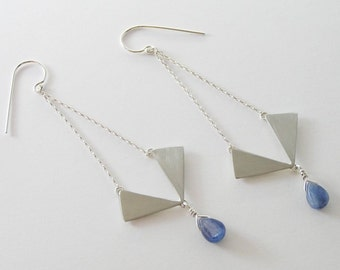 Geometric Dangle Earrings - Long Triangle Chandelier Earrings - Sterling Silver  with Blue Kyanite Drops