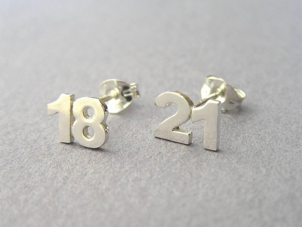 custom numbers earrings two digits sterling silver studs. Black Bedroom Furniture Sets. Home Design Ideas