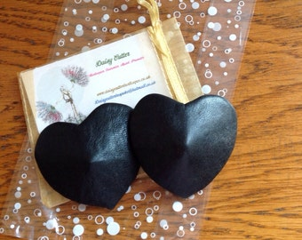 Leather heart shaped neo-burlesque nipple covers