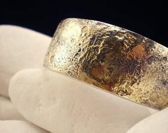Solid Sterling Silver Bracelet with melted 18K Gold