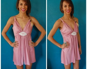 Vintage 1970s Disco Dress - Empire Waist Champagne Blush Pink Petite Iridescent Mini - Size 2 / 4
