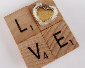 LOVE Fridge Magnet - Scrabble Tiles with Heart