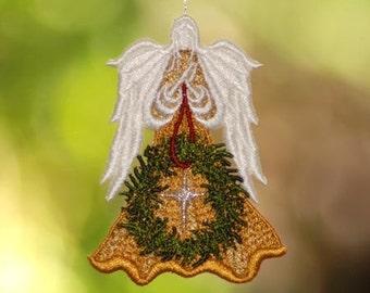 Lace Christmas Angel, Wreath Angel, Cross Angel, Swarovski crystal Angel, Metallic Star Angel