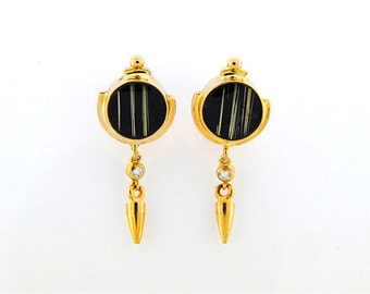 Rutilated Quartz & Onyx Composite Earrings with Diamonds set in 14K Gold Fine handmade Jewelry