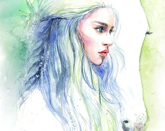 Game of Thrones Daenerys Targaryen with Horse Watercolor Art Print