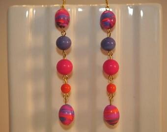 Handmade Vintage Long Pink Swirl Earrings