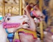 Carousel Photography- Pink Carousel Horse Photograph, Merry Go Round, Nursery Decor, Fair Photography-Pink Gold Blue, 8x10 Fine Art Print