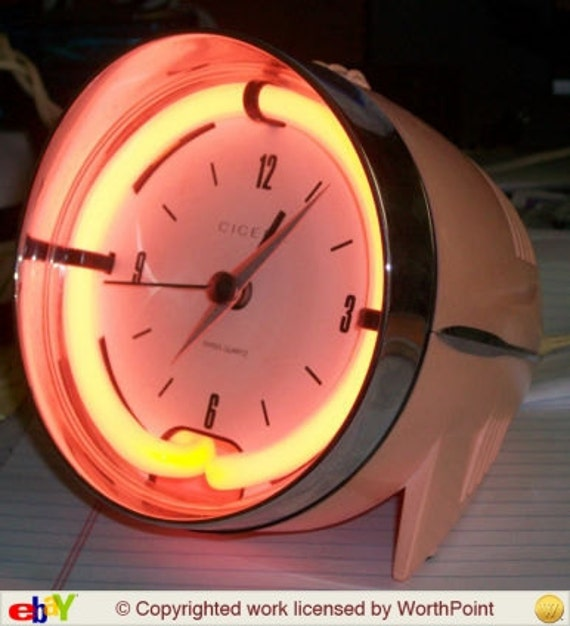 Neon Pink Retro Clock Headlight Cicena Cruiser Alarm Clock