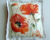 "Reserved for Sarah - 5"" x 5"" Printed Fabric - Poppy Watercolor Design"