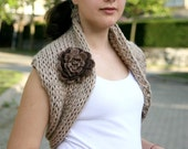 Chunky Cowl in Brown and Beige - Capelet -  Womens Wrap - Neckwarmer - Spring Fall Winter Fashion - Women Accessories