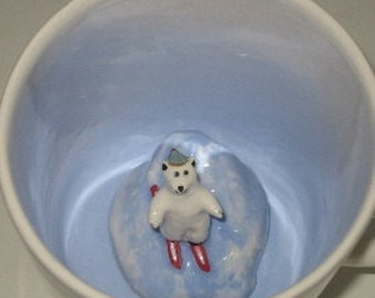 Skiing Polar Bear Surprise Mug (Made to Order)