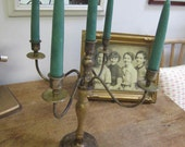 Distressed candelabra brass and wood. Candle light. Centrepiece candelabra. Rustic Candelabra
