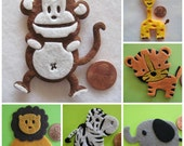 Assorted Felt Animal Ornaments Monkey, Giraffe, Tiger, Lion, Elephant and Zebra for Safari / Jungle Themed, Baby Shower Favors, 6 pieces