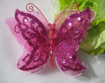 "5"" Fuchsia Nylon Butterflies 2 layered for Wedding, Flower Arrangement, Hair Accessories, Bridal Shower"