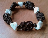 Brown Lava Rocks and White Howlite Stones-  Versatile, Stackable, organic, earthy