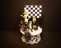 Motorcycle Dirt Bike Bride and Groom W/Die-Cast MXS NINJA Motocross Bike and Helmet Funny Bike Wedding Cake Topper