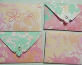 Happy Flower 3 Mini Envelope Set of 4 Business cards holder, Gift Card Envelope
