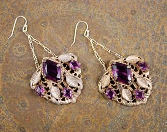 Vintage Deco Art Nouveau Rhinestone Lilac Glass Dress Fur Shoe Clip Buckle Drop Chandelier Earrings