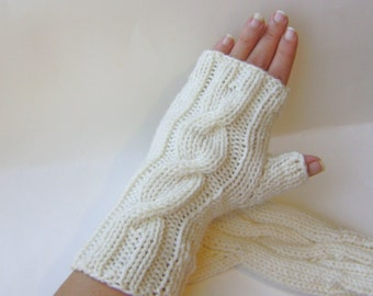Fingerless Gloves Hand Knit Cream Off White Gloves Cable Knit