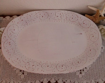 Shabby Chic Ornate Platter Beach Cottage Coastal Seaside Paris Romantic French Country Farm House Rustic Country Home Decor Wedding Gift Her