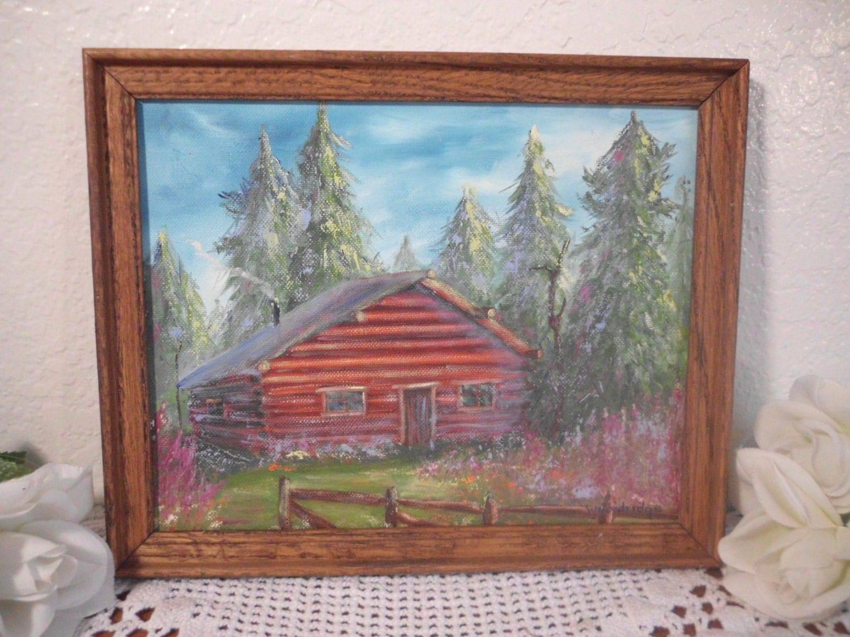 Vintage Log Cabin Oil Canvas Painting Rustic Wood Frame Man
