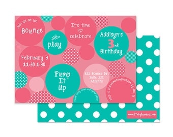 BOUNCE HOUSE INVITATION, Pink and Teal, Girls Birthday, Digital or Professional Printed