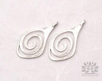 P507-MR// Matt Original Rhodium Plated Unique Snail Pendant, 4 pcs