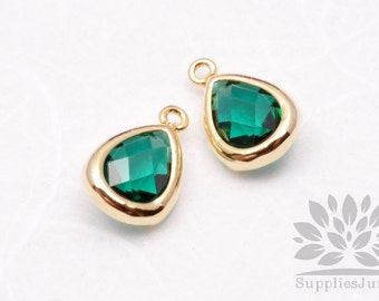 F121-G-EM// Gold Plated Emerald Faceted Teardrop Glass Pendant, 2 pcs