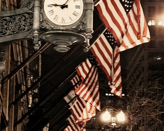Chicago Photography - Marshall Fields Clock, Chicago at Night, City Photography