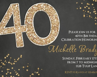 40th Birthday Invitation - 40th Printable Invitation - Adult Birthday - Surprise Party
