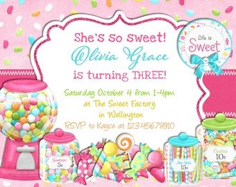 Candy Sweet Shop Invitation, Candyland Birthday Printable Invite