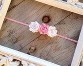 Felt Rosette Trio in Pink and White Felt Flower Headband Newborn Photography Prop Baby Girl Headband  Toddler Headband Valentines Easter