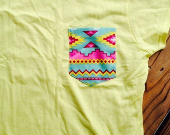 Limited Edition- Tribal Pocket Tee - citrus yellow