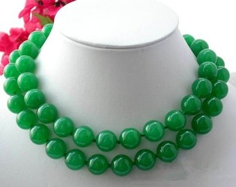 jade necklace -32/48 inch 12mm green jade long necklace free shipping