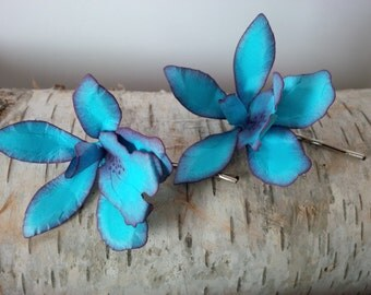 Blue orchid, paper orchid hairpins, wedding hair, something blue, bridal hair accessories, unique hair pins, prom hairpiece, paper flowers