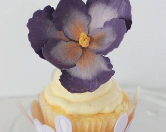 Pantone Radant Orchid inspired Paper iris cupcake toppers, set of 50 iris paper flower cupcake picks