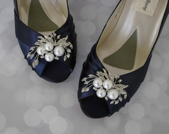 Wedding Shoes, Navy Wedding Shoes, Pearl Bridal Shoes, Bride on Budget Wedding Shoes, Blue Wedding Shoes, Low Heel Shoes, Navy Blue Satin