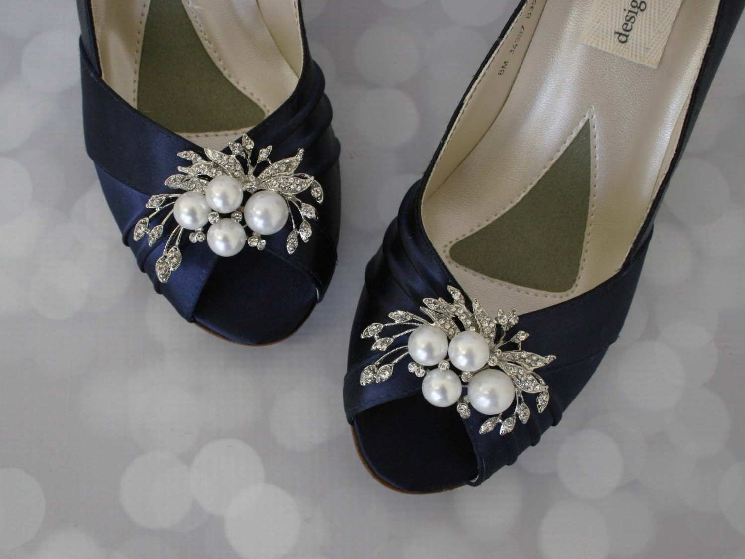 Wedding Shoes Navy Pearl Bridal Bride