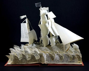 Treasure Island Book Sculpture, One of A Kind