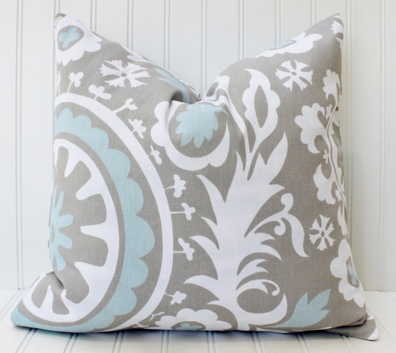 GRAY BLUE Pillow.Pillows.Decorative Pillow Covers.Home