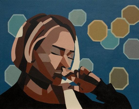 geometric art, abstract art, sad girl, Nashville, Hayden Panettiere, emotional art, pensive, geometric shapes, figurative, woman, art prints