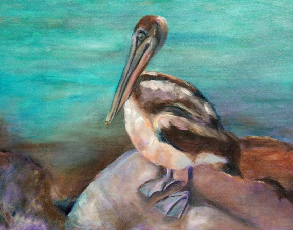 Pelican painting, Wall art, beach decor, pelican art for beach house, bird art, paintings of birds, beach life, ocean artwork, coastal art