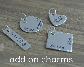 Add A Personalized Charm, Create Your Own Designs, Sterling Silver, Hand Stamped Charms