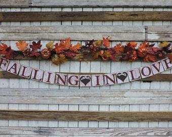 Falling In Love Wedding Banner, Autumn Wedding Ideas, Fall Wedding Garland, Rustic Wedding Decor, Fall Wedding Ideas, Fall Wedding Sign