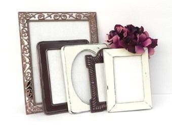 Shabby Chic Frame Collection in Brown, Cream and Nutmeg, Set of 5 Upcycled Frames, Rustic Frame Set