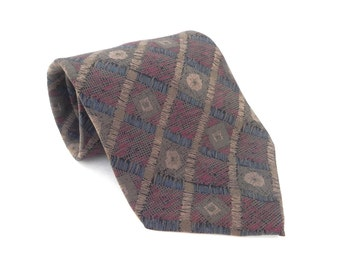 Geoffrey Beene Silk Mens Necktie Made In the USA.  Muted colors Khaki, Blue, Red
