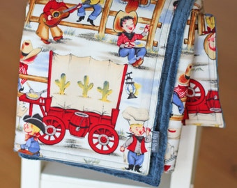 Baby Boy Gift Minky Pram Blanket Cuddle Travel in Cowboy Lil Cowpokes Blue Denim Michael Miller Designer Fabric Large and Warm