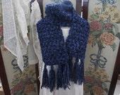 Treasury Item, SALE  Midnight Blue Sparkle Chunky Ladies Scarf, OOAK Handmade Crochet Winter Womens Scarf, ECS,