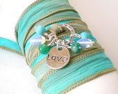 turquoise silk ribbon wrap bracelet, love charm, boho wrist wrap, yoga inspired, gemstone wrap bracelet